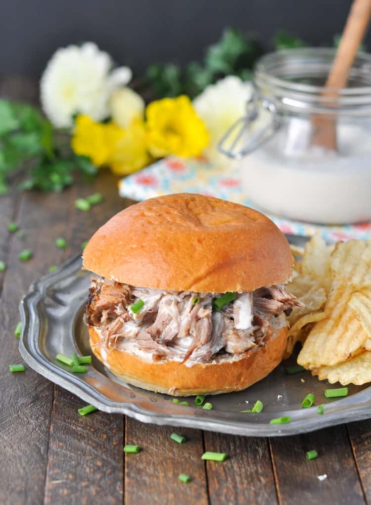 Slow Cooker Pulled Pork with Alabama White Barbecue Sauce! Pulled Pork Crock Pot Recipes | Crock Pot Meals | Pork Recipes | Pulled Pork Slow Cooker | Easy Dinner Recipes | Dinner Ideas | Barbecue