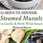 A collage image of steamed mussels