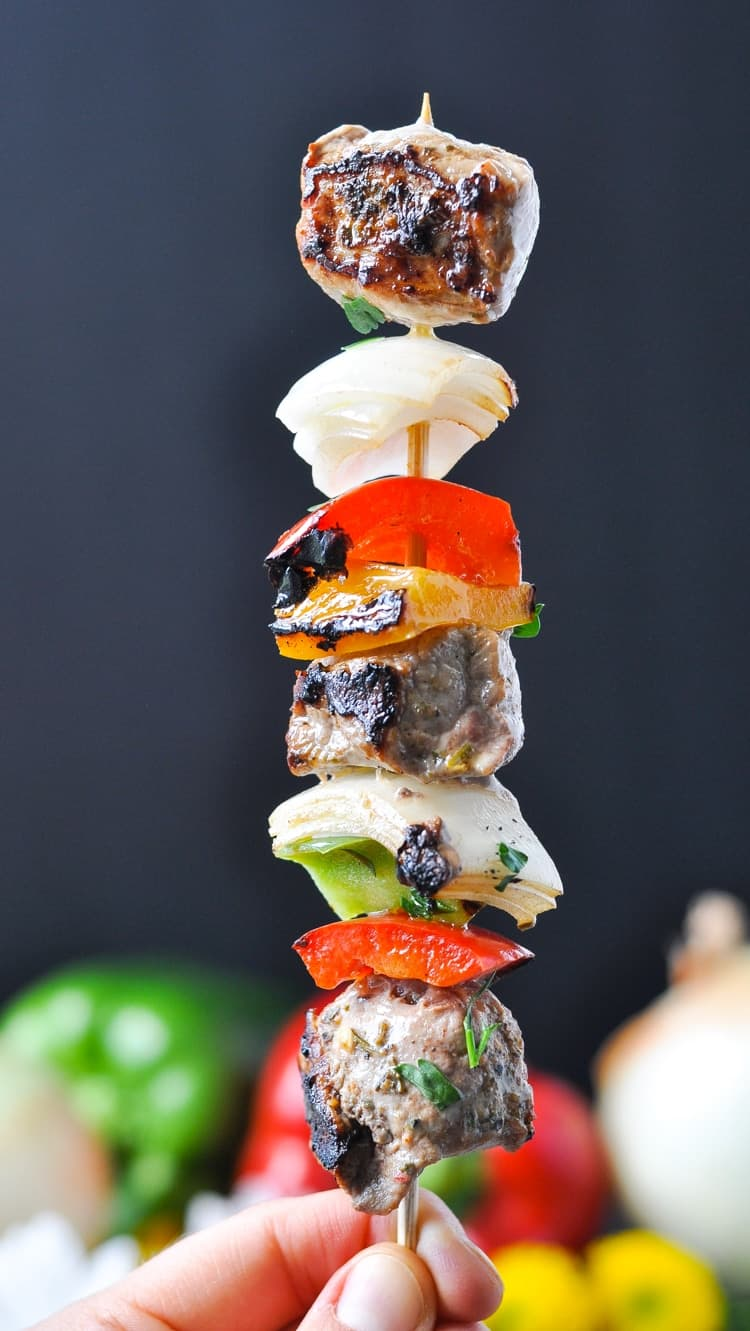 Garlic & Herb Grilled Pork Kabobs on a skewer