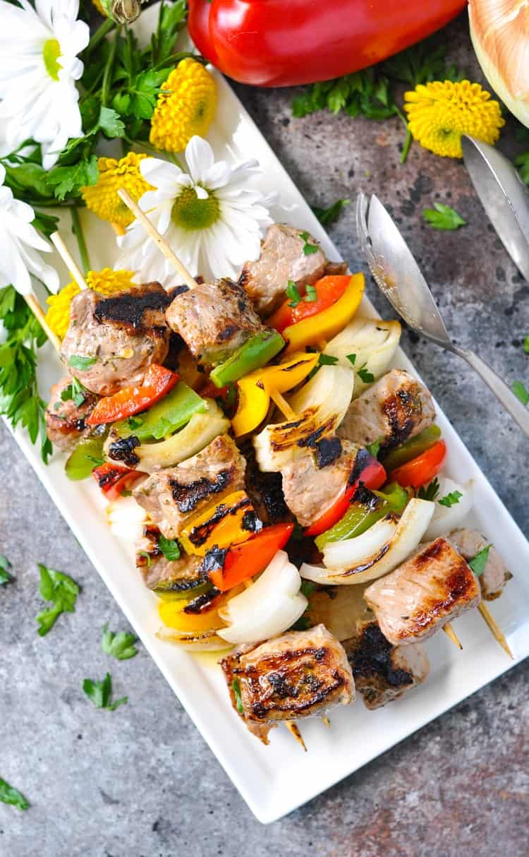 An overhead shot of Garlic & Herb Grilled Pork Tenderloin Kabobs