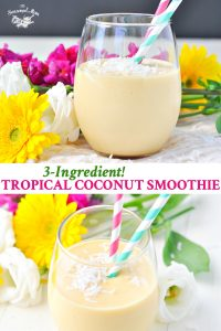 Long collage of 3 ingredient tropical coconut smoothie