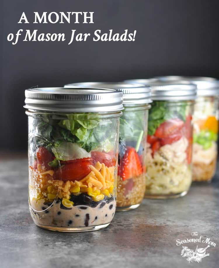 A month of mason jar salads the seasoned mom meal prep salad recipes meal prep for forumfinder