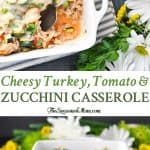 A collage image of a zucchini casserole
