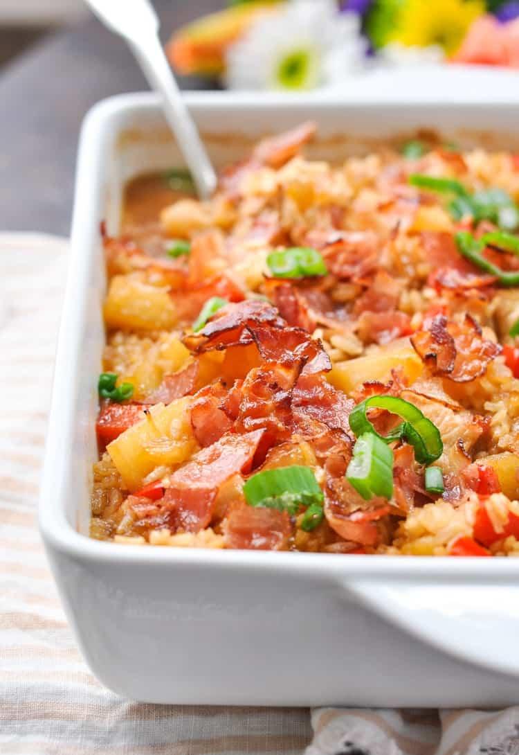 Dump-and-Bake Aloha Chicken and Rice | Easy Dinner Recipes | Dinner Ideas | Chicken Recipes | Chicken Breast Recipes | Casserole Recipes | Bacon