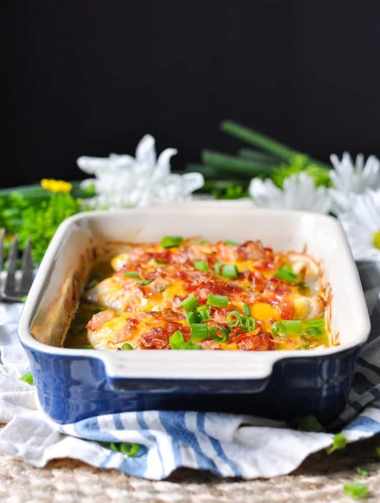 Cheddar, Bacon Chicken in a blue casserole dish