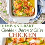 A collage image of one pan cheese bacon chicken