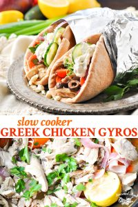 Long collage of Slow Cooker Greek Chicken Gyros