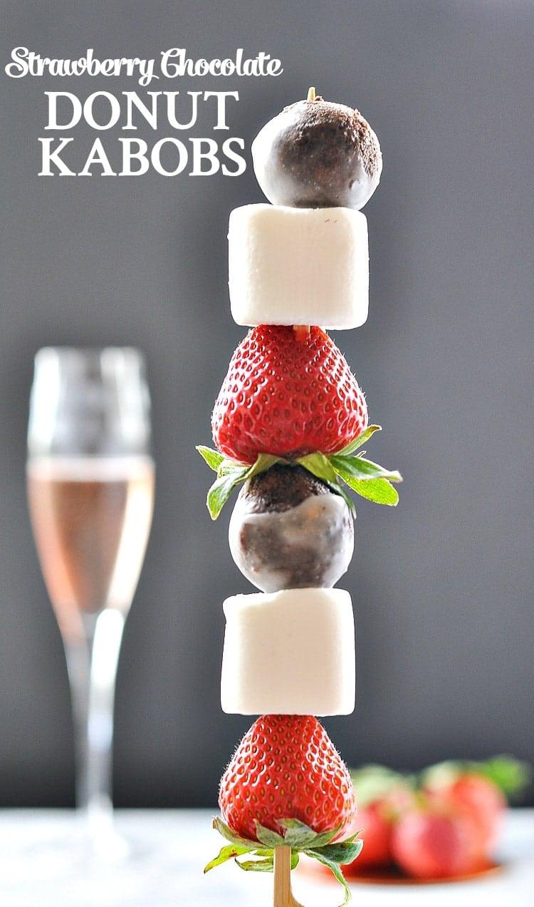 Strawberry Chocolate Donut Kabobs | Donut Recipe | Donut Party | Donut Birthday Party | Brunch Ideas | Brunch Recipes | Desserts | Dessert Recipes Easy | Easy Desserts