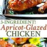 A collage image of apricot glazed chicken