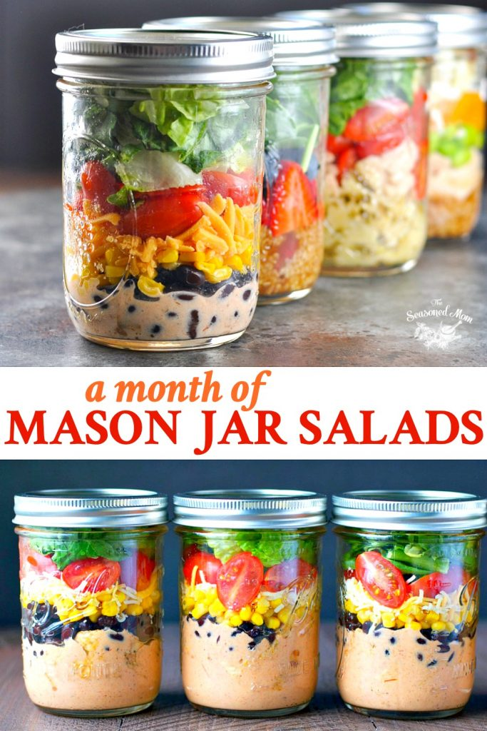 Long collage of a month of Mason Jar Salads recipes