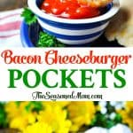 A collage image of bacon cheeseburger pockets