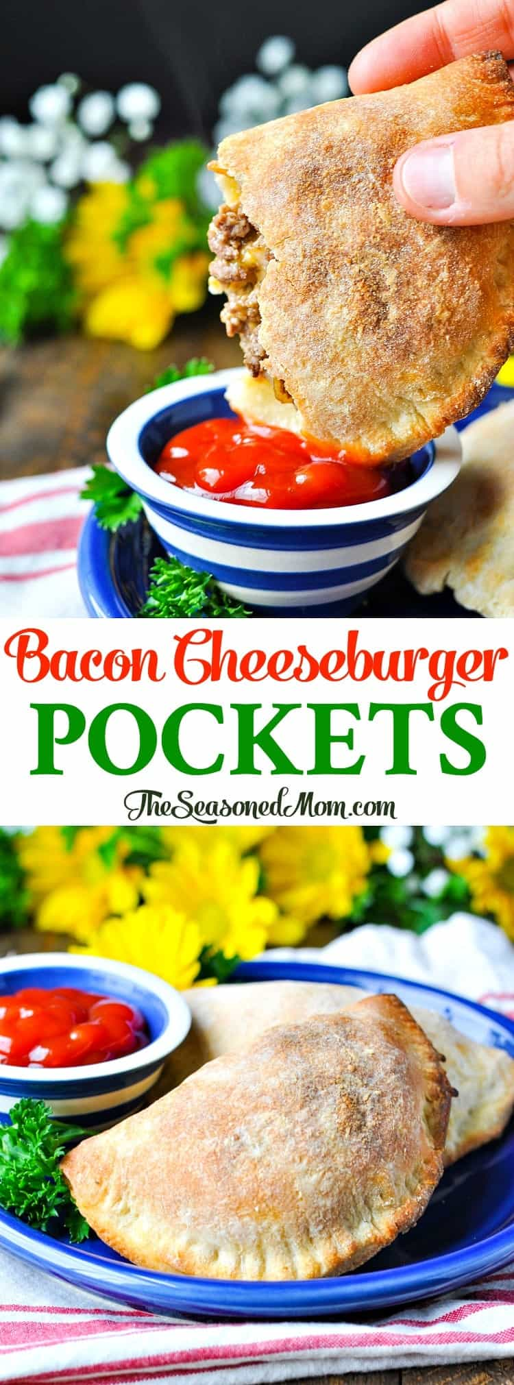 Bacon Cheeseburger Pockets! Easy Dinner Recipes | Healthy Dinner Recipes | Dinner Ideas | Dinner Recipes Healthy | Ground Beef Recipes | Freezer Meals | Freezer Recipes | Make Ahead Meals | Prep Ahead | Meal Prep
