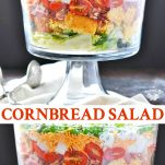 A layered cornbread salad in a glass dish with a gray background and text at the top