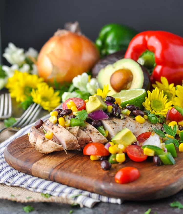 Cowboy Caviar Chicken | Salad Recipes | Healthy Dinner Recipes | Dinner Ideas | Easy Dinner Recipes | Salsa Recipes | Fresh Tomatoes | Corn | Clean Eating | Grilled Chicken | Chicken Breast Recipes | Healthy Recipes Easy