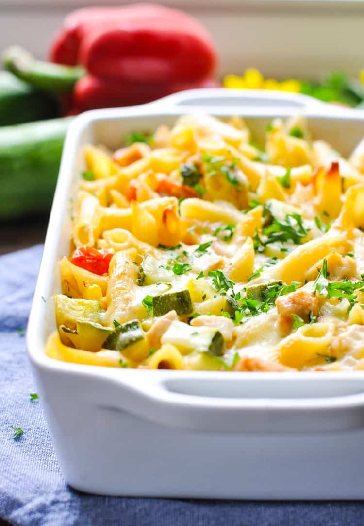 Dump And Bake Summer Pasta With Corn Zucchini Tomatoes Chicken
