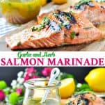 Long collage of Garlic and Herb Salmon Marinade