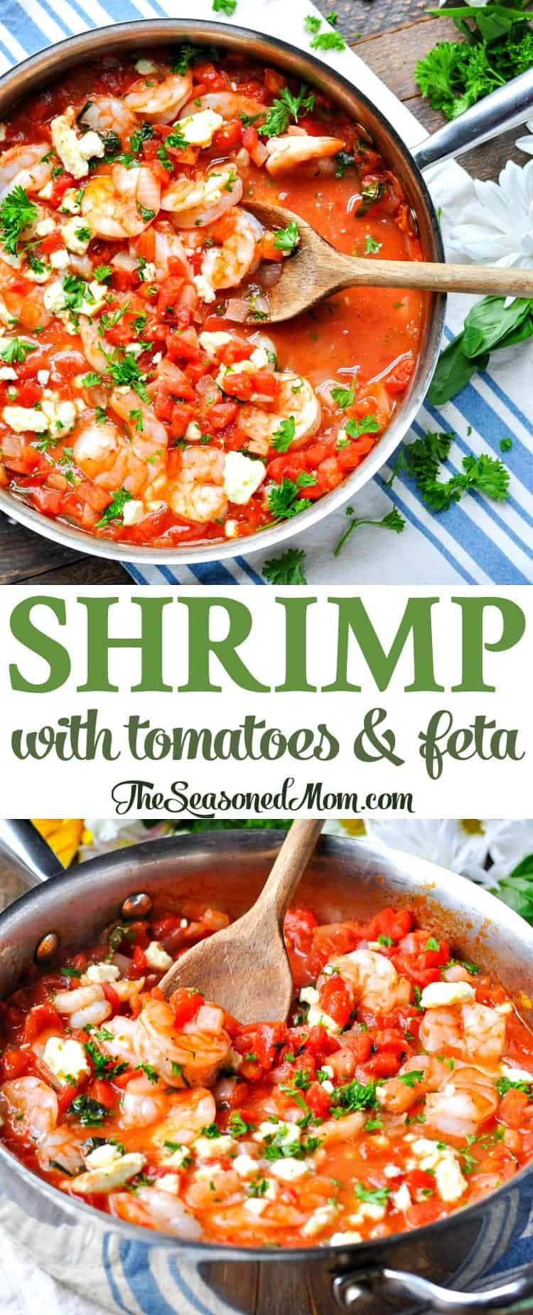 Shrimp with Tomatoes and Feta | Easy Dinner Recipes | Healthy Dinners | Healthy Dinner Recipes | Dinner Ideas | High Protein | Low Carb | Seafood Recipes | One Skillet | One Pan | Shrimp Recipes | Mediterranean Recipes | Mediterranean Food