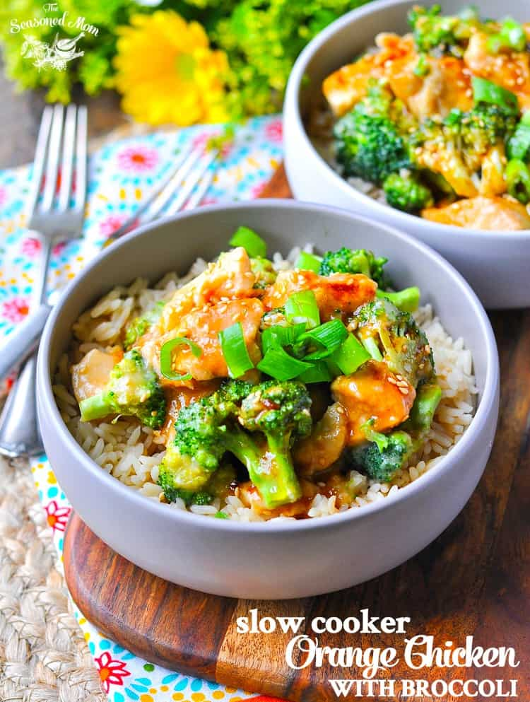 A bowl of slow cooker orange chicken and broccoli with rice