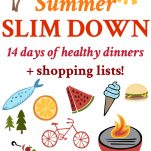 Long collage of healthy dinner recipes for summer