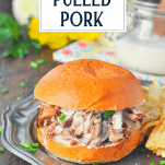 Slow cooker pulled pork sandwich with text title overlay