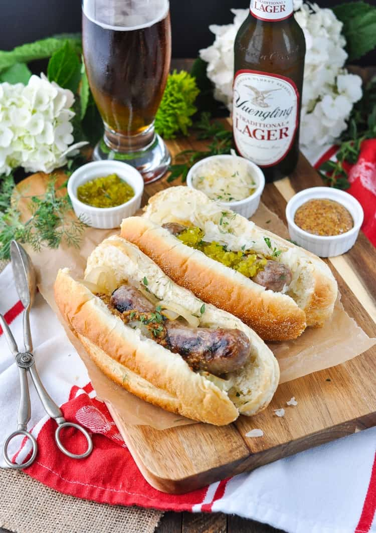 These easy grilled beer brats are a delicious dinner recipe for your next summer cookout!