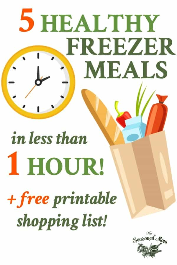 Long text collage for 5 Healthy Freezer Meals in Less than 1 hour