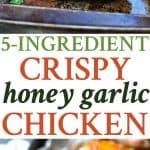 A collage image of honey garlic chicken