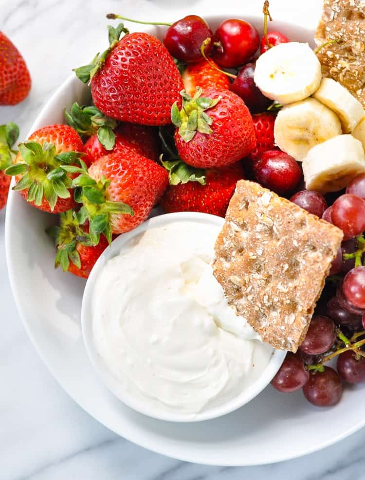 A simple and healthy fruit dip is an easy snack when served with crackers and fruit!