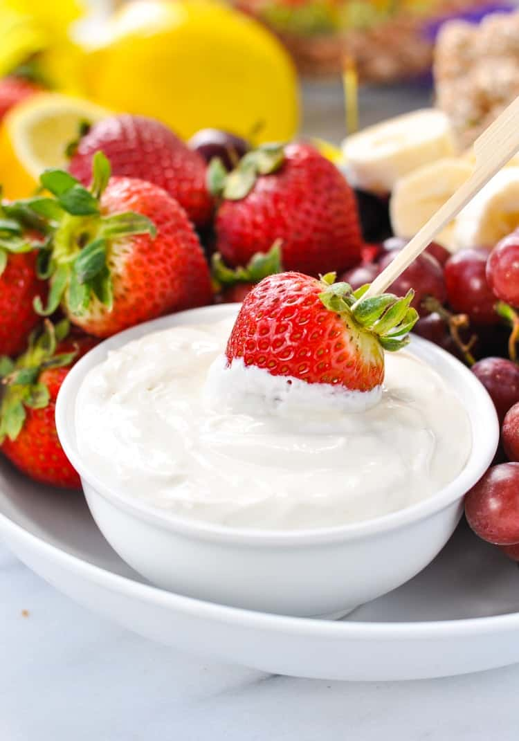This easy and healthy fruit dip is a favorite snack for kids!