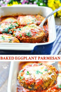 Long collage of baked eggplant parmesan recipe