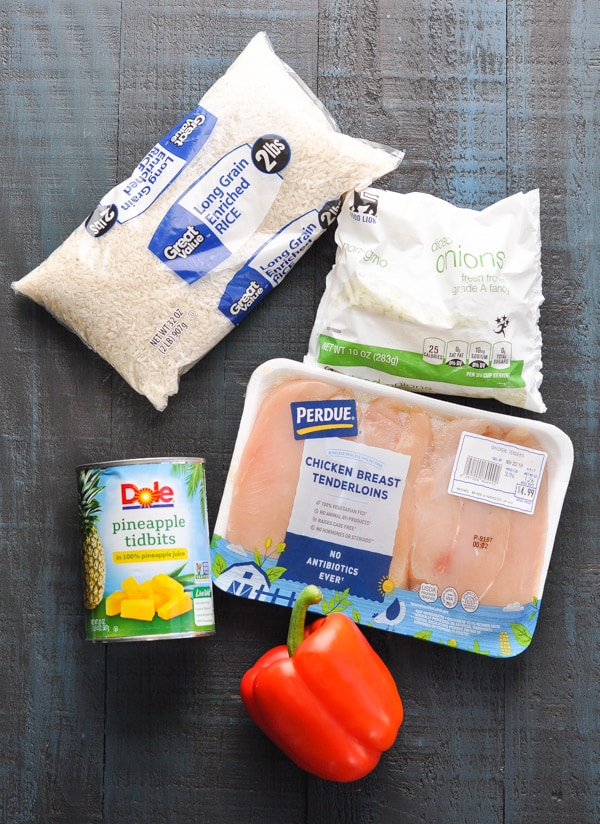 Overhead image of ingredients for aloha chicken and rice