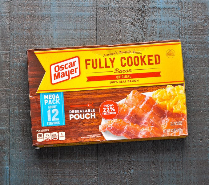 Package of cooked bacon
