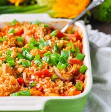 Country captain chicken and rice in a casserole dish