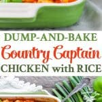 A collage image of country captain chicken and rice