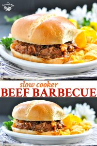 Long collage of Slow Cooker Beef Barbecue