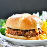 Slow Cooker Beef Barbecue on a bun