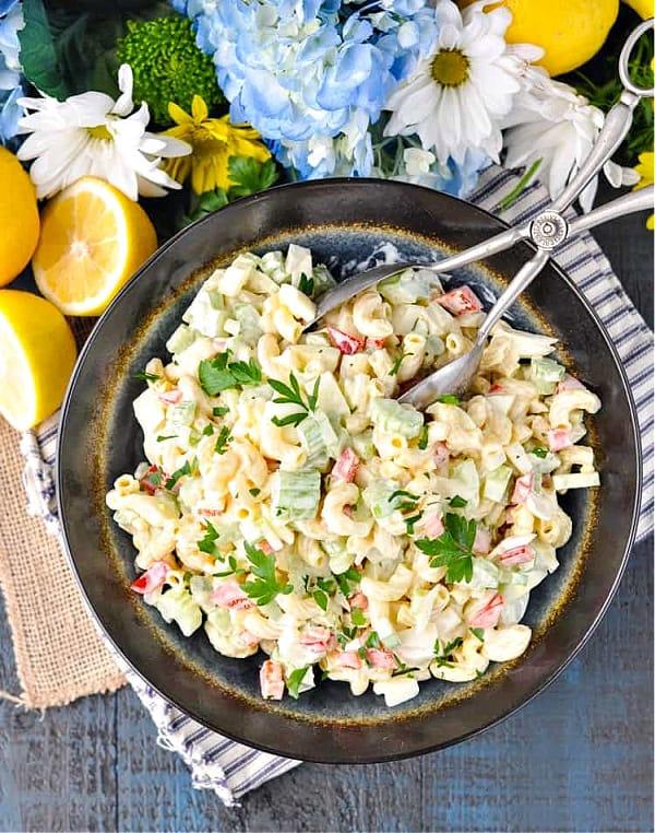 Overhead shot of a bowl of southern macaroni salad