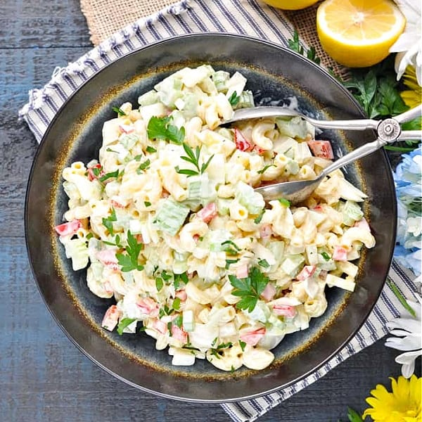 Square overhead shot of easy macaroni salad in a bowl