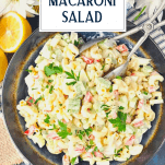 Overhead image of southern macaroni salad in a bowl with text title overlay