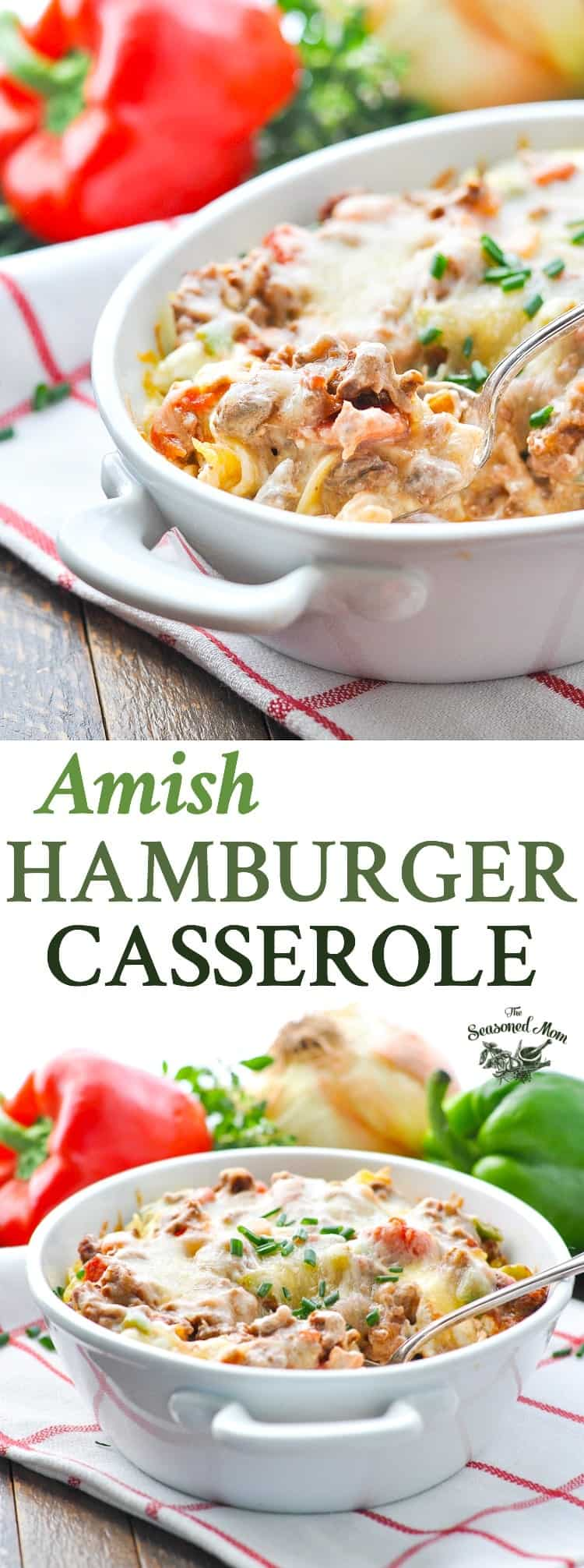 Quick and Easy Amish Hamburger Casserole is a one dish meal that's perfect for busy families! Ground Beef Recipes   Easy Dinner Recipes   Hamburger Recipes   Dinner Ideas