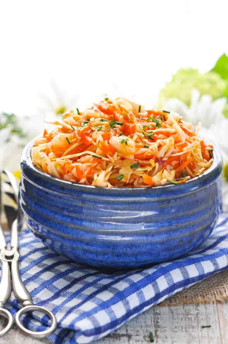 This Amish Sweet and Sour Coleslaw is an easy side dish recipe for picnics and potlucks! Salad Recipes | Cabbage Recipes