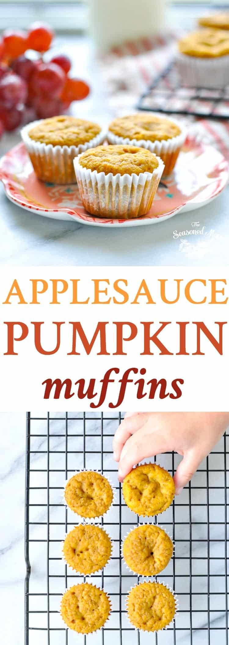 The Applesauce Pumpkin Muffins are a healthy breakfast or snack for fall! Muffin Recipes | Snack Ideas | Lunch Ideas for Kids | Clean Eating Recipes
