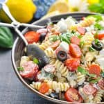 A close up of a creamy Italian pasta salad