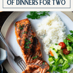 Salmon dinner recipes for two with text title box at top