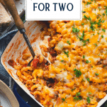 Overhead shot of dinner recipes for two with text title overlay