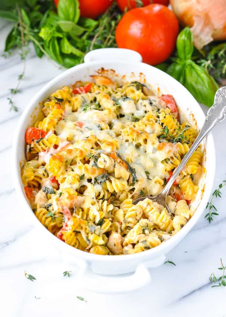 Dump-and-Bake Chicken Caesar Pasta in a white dish
