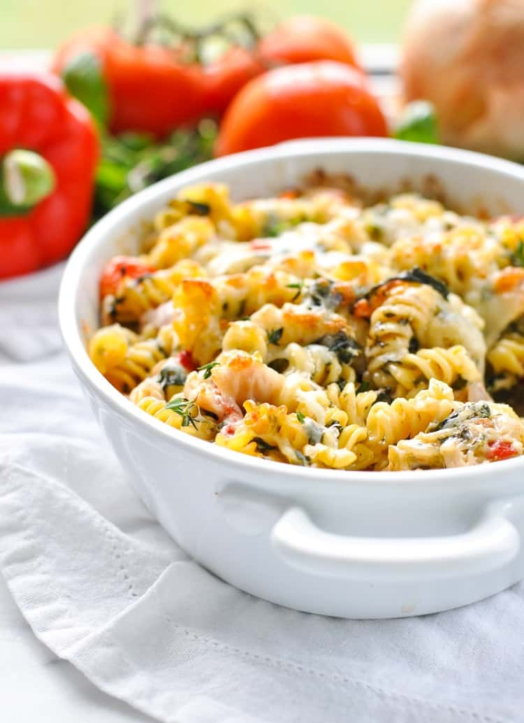 A close up of chicken Caesar pasta bake