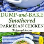 A collage image of sump and baked smothered chicken