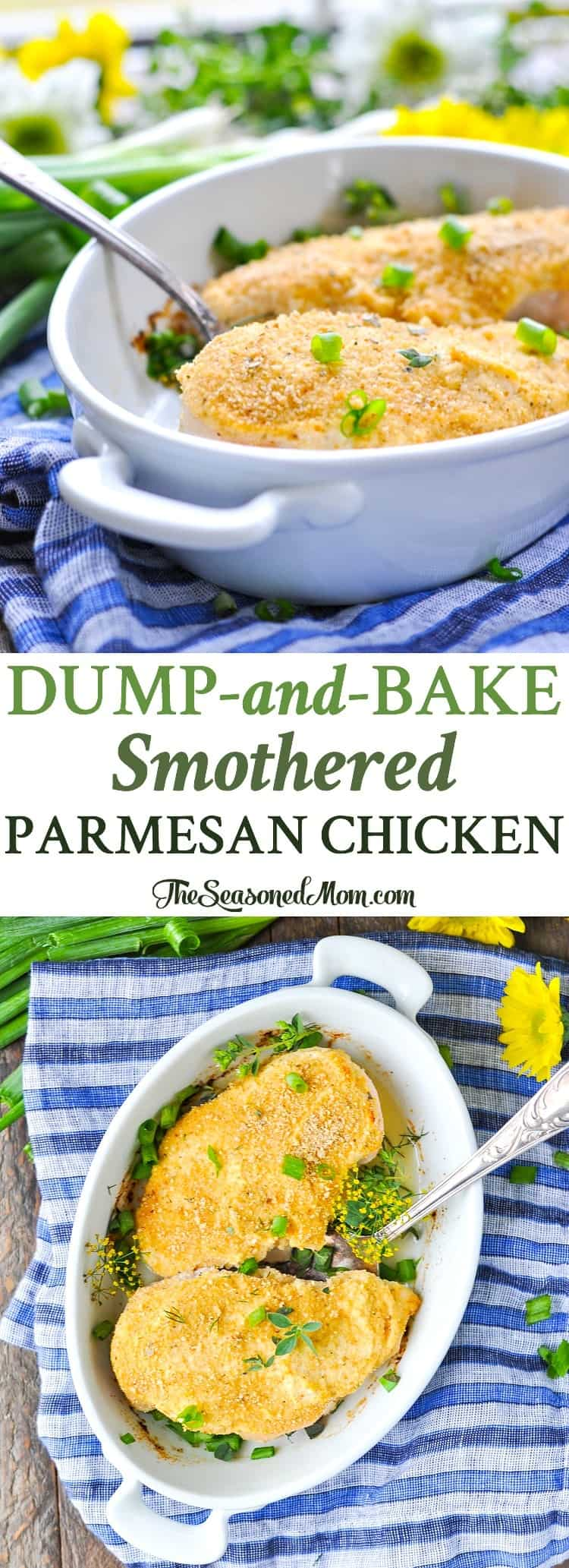 This Dump-and-Bake Smothered Parmesan Chicken is an easy dinner that comes together in just 5 minutes! Baked Chicken | Chicken Breast Recipes | Healthy Dinner Recipes