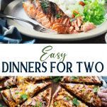 Long collage image of dinner recipes for two